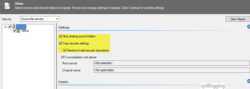 FSMT Server migration settings