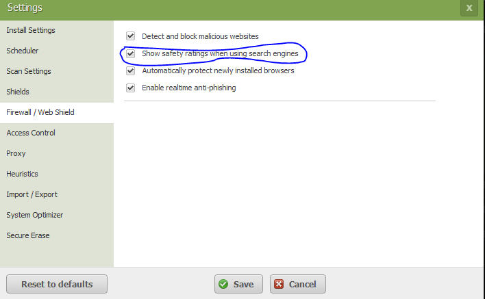 Webroot Safety Ratings Setting