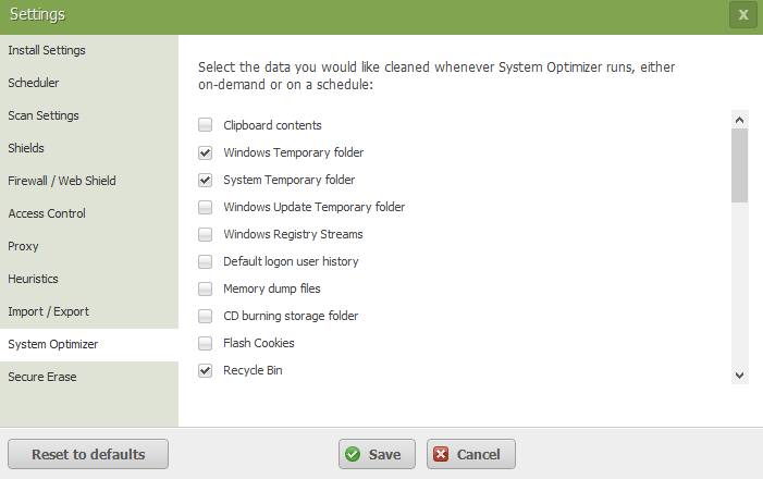 Webroot System Optimizer Settings 1